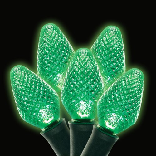 C7 LED 25L 8 Inch Spacing Strand Green